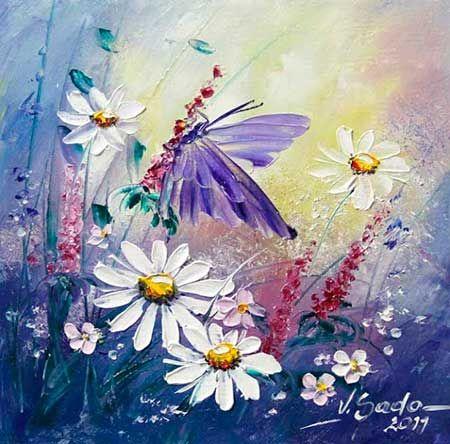 Margaritas y mariposas viola sado pintura pinterest - Cuadros abstractos paso a paso ...