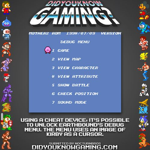 Kirby In Debug Menu Of Earthbound Video Game Facts Video Games Funny Gaming Facts