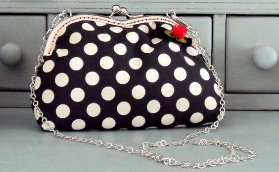 Black and white clutch polka dot purse detachable by Tresgats, $30.00