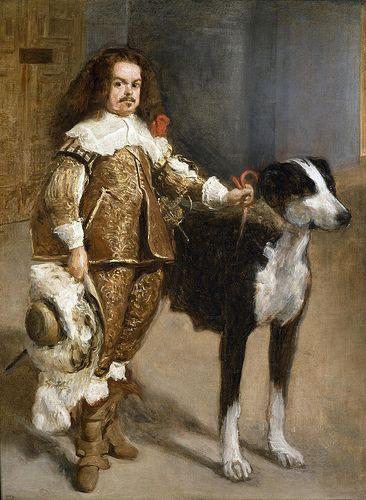 ⍕ Paintings of People & Pets ⍕  Diego Velázquez | El bufón con perro, 1650: