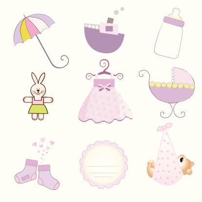 baby girl items set in vector format - Illustration vectorielle