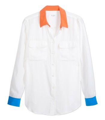 #ShopBAZAAR - Equipment Colorblock Silk Shirt | See more about Silk Shirts, Silk and Shirts.