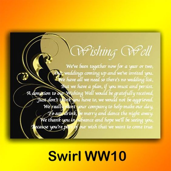 Wedding Wishing Well Invitations: Details About Personalised Wishing Well Money Request Poem