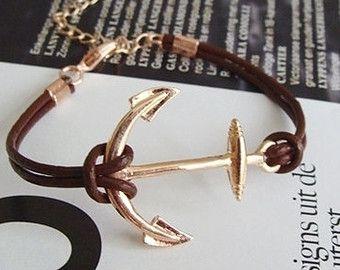 Or Argent Or Rose bracelet ancre, 3 couleurs cuir bracelet ancre, bracelet ancre, pour la soeur, pour le meilleur ami, ancre bracelet