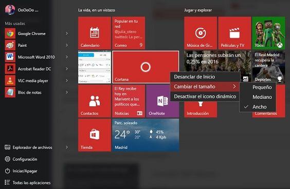 Cómo eliminar Tiles del menú de Inicio en Windows 10 - http://www.windowsnoticias.com/eliminar-tiles-del-menu-inicio-windows-10/