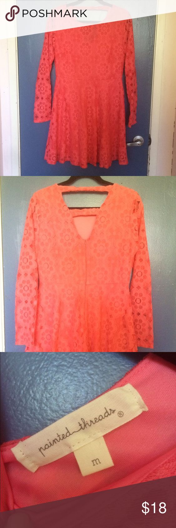Coral/Peach Eyelet Dress Perfect condition only worn once. Eyelet flower dress. Pink/Coral/Peach color. Length is just above the knees. Painted Threads Dresses Midi