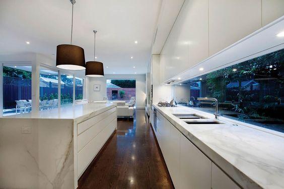 Kitchen window splashback Hawthorn   Melbourne Home Renovation - like the joinery + window