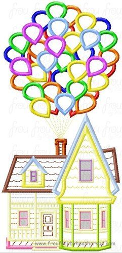 U.P. House with Balloons 3 Design SET- Just House, Just balloons, and both combined Machine Applique Embroidery Design