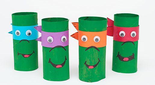 Tortues ninja avec des rouleaux de papier toilette super - Activite manuelle avec des rouleaux de papier toilette ...