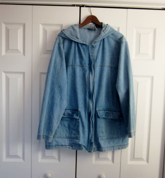 Vintage Hooded Denim Jacket Womens 2X Plus Size Zipper Front ...