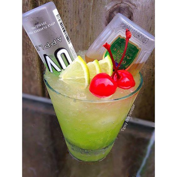 WHISKY SOUR APPLE 1 Mini Bottle - UV Apple  1 Mini Bottle- Crown Royal Apple  1 oz. (30 ml) Lemon Sour  Top off with Lemon Lime Soda  Garnish - Limes & Cherries