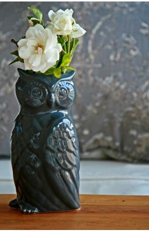 Owl Vase Grey Pinned by www.myowlbarn.com: