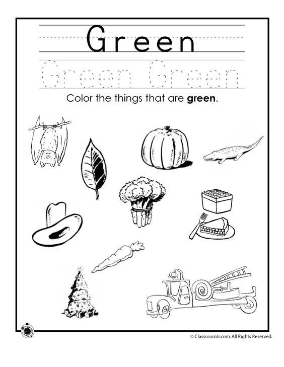 Learning Colors Worksheets for Preschoolers Color Green Worksheet ...