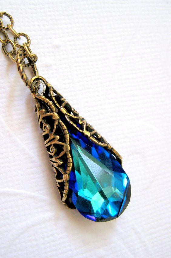 Blue necklace, Swarovski blue green ocean crystal necklace, Antique gold filigree aqua necklace, Victorian necklace, Peacock necklace. $32.00, via Etsy.
