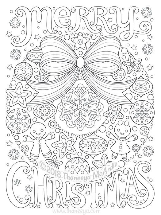 Merry Christmas Wreath Coloring Page By Thaneeya With Images