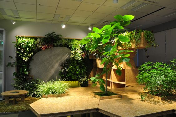 積極的に緑化したオフィス空間。Office space in which trees was planted positively.