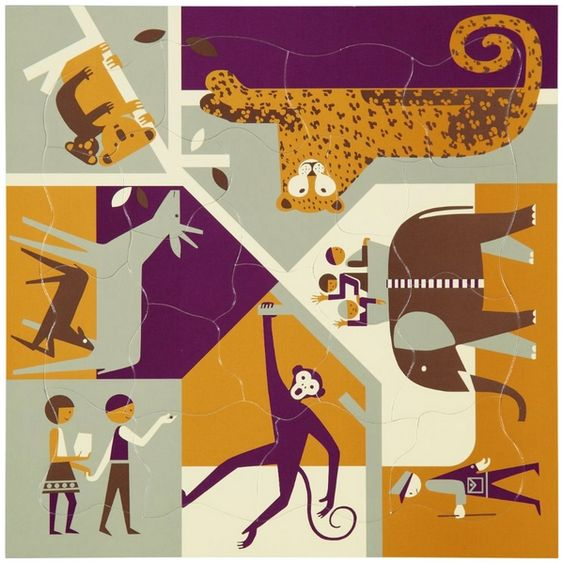 Puzzle multi-vue Fredun Shapur - Au zoo Editions Piqpoq www.lepingouindelespace.com
