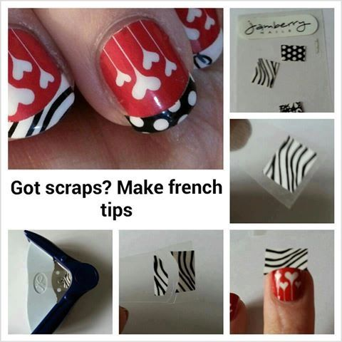 Use Jamberry nail wrap scraps for a French manicure. Brilliant! #FrenchTips #Fun