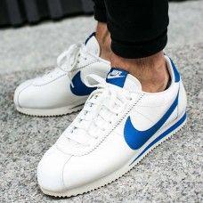 Latest Nike Cortez Mens Leather White Blue Trainer   Nike ...