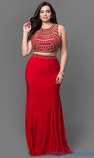 NA-8174P - Plus Size Two Piece Beaded Bodice and Open Back - Plus ...
