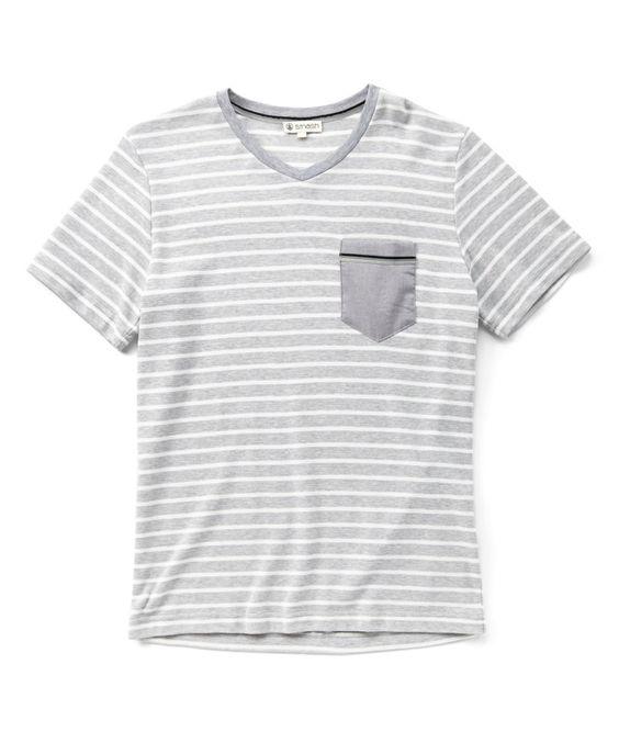Gray & Light Gray Stripe V-Neck Pocket Tee by Smash Trends #zulily #zulilyfinds