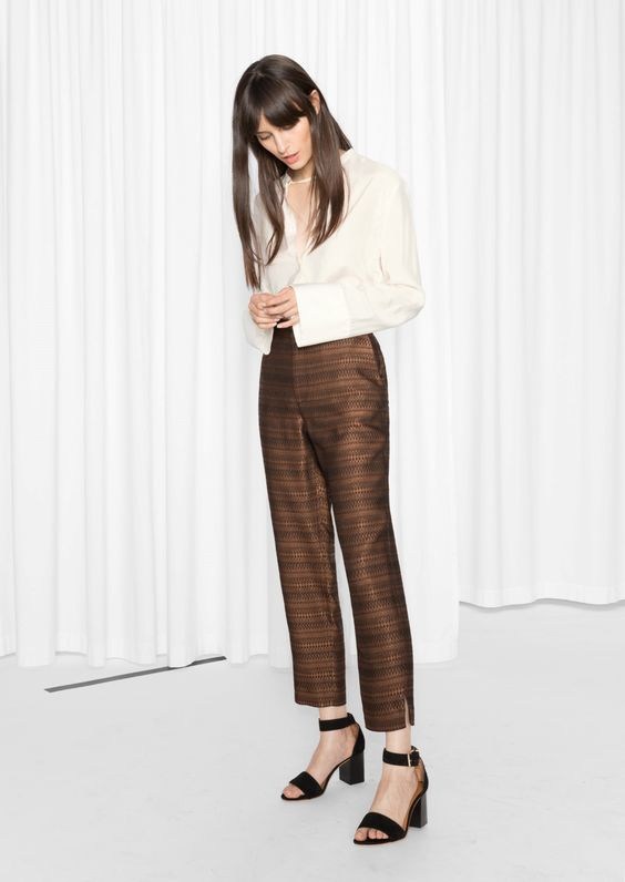 Bronze Tone Cropped Trousers - & other stories