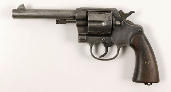 A Colt New Service Model 1909 Double-Action revolver found in the bullet-riddled car driven by Bonnie and Clyde on the day they died. This revolver comes with a Colt Factory letter indicating it was shipped on August 12, 1911, to the US Ordnance Department in Manila, Philippine Islands.