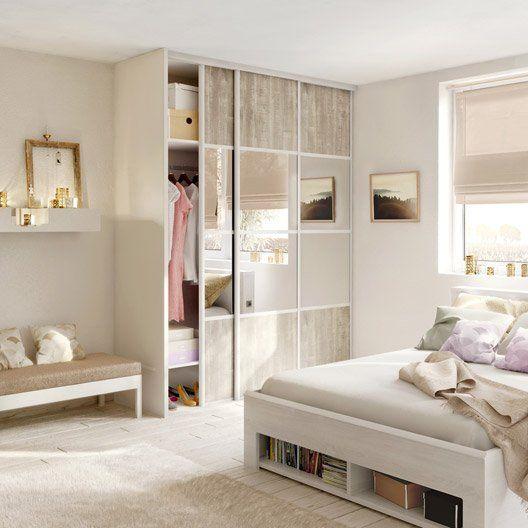 Porte de placard coulissante effet bois nacre miroir for Porte pliante miroir placard