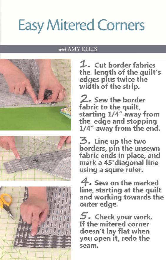 Mitered corners, Sewing and Quilt border on Pinterest