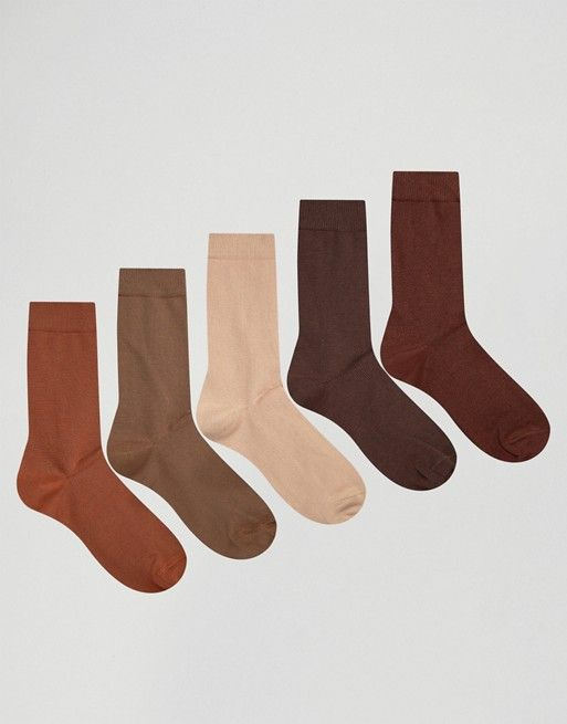 ASOS | ASOS Socks In Brown 5 Pack