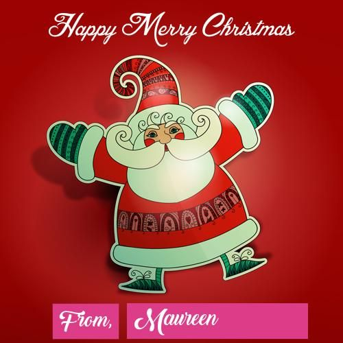 Unique Santa Claus Merry Christmas Day Wishes Name Image Merry