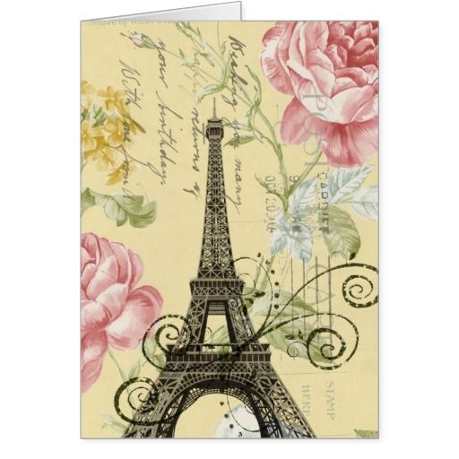 girly fashion paris eiffel tower vintage greeting card