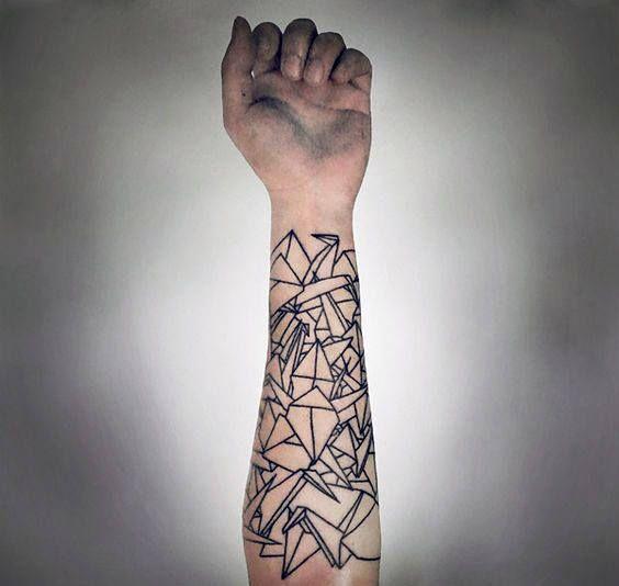 90 Origami Tattoo Designs For Men Folded Paper Ink Ideas Geometric Tattoo Geometric Sleeve Tattoo Geometric Shape Tattoo