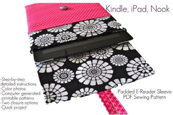 eReader Sleeve PDF Sewing Pattern - Kindle, iPad, Nook,  by Pink Poodle Bows