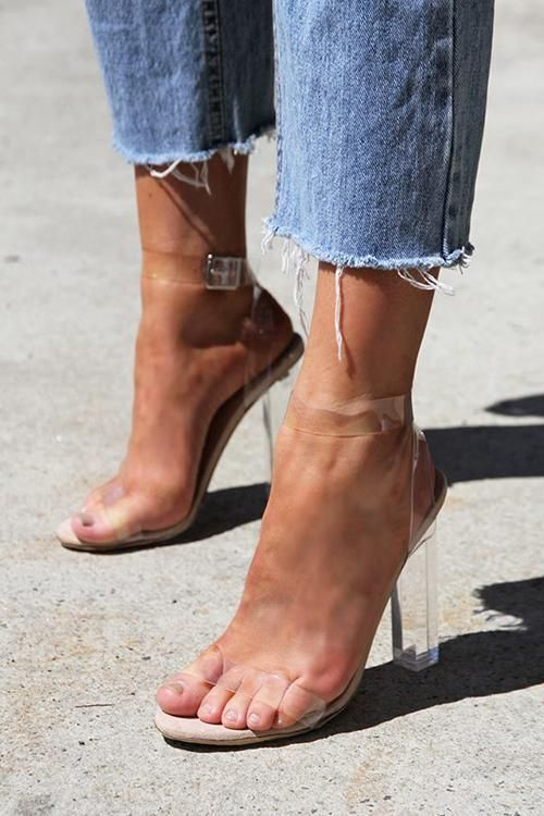 """We can't help but want to show in clear transparent Lucite heels! The transparent top forms a slim toe band and is paired with ankle straps, which are surrounded and secured with gold buckles around the ankles. Material: PU, Approx. 4"""" Heel"""