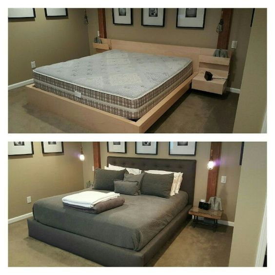 ikea malm bed hack before and after bedroom update pinterest el desafi o camas y malm. Black Bedroom Furniture Sets. Home Design Ideas