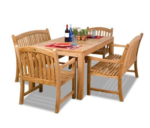 Amazonia Teak Geneve 5-Piece Teak Rectangular Dining Set by Amazonia Teak. $2189.00. Color: light brown. 1 rectangular table 35w x 63d x 29h 2 armchairs 25w x 23d x 35h 2 benches 26w x 48d x 35h. Free feron's wood sealer/preservative for longest durability. Penetrating oil that works great against the effects of air pollution salt air, and mildew growth. For best protection, perform this maintenance every season or as often as desired. Some assembly required. 5 individual piece...