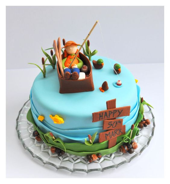 Fishing cake with fisherman, fish, ducks, cattails