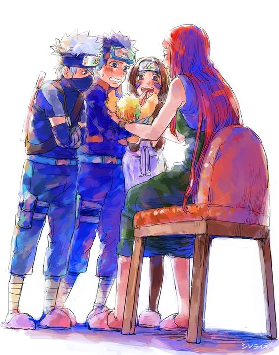 Kakashi, Obito and Rin taking baby Naruto in their hands for the first time... So cuteeeeee