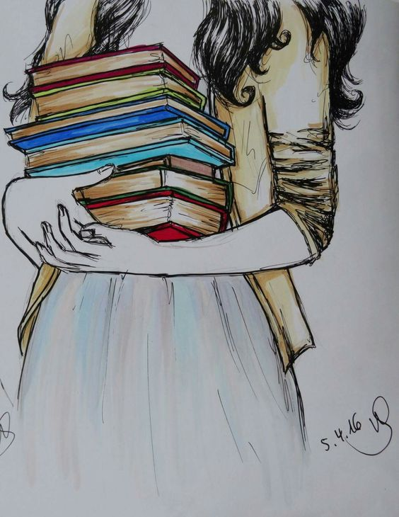 True book Love. Girl carrying an armful of books. ~Artist: Unknown: