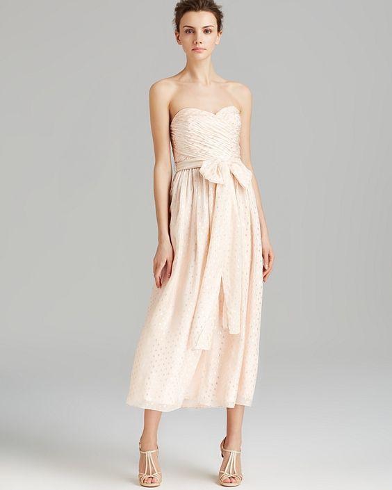 Jill Jill Stuart Dress - Strapless Metallic Dot Tea Length #Bloomingdales