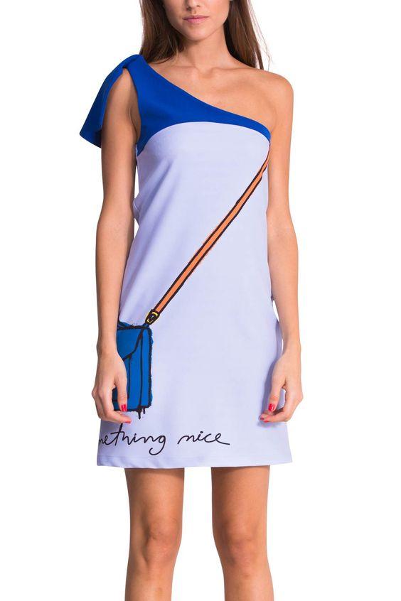 Robe bleue à col asymétrique | Desigual Blue