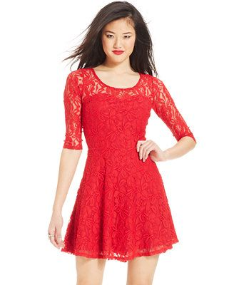 Material Girl Short-Sleeve Lace Skater Dress  my board ...