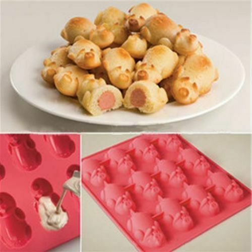 12 Little Pigs In A Blanket Silicone Baking Mold Hot Dog Candy