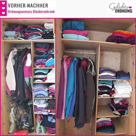 Viele Ideen zum Kleider aussortieren findest du in meinem Blogpost mit Vorher-Nachher-Bildern vom Ordnungseinsatz am Kleiderschrank.