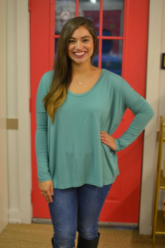 PIKO L/S Oval Neck Turquoise