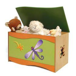 """Room Magic Toy Box, Little Lizard. Large capacity toy chest. Safety hinges prevent fingers from getting p""""ed."""