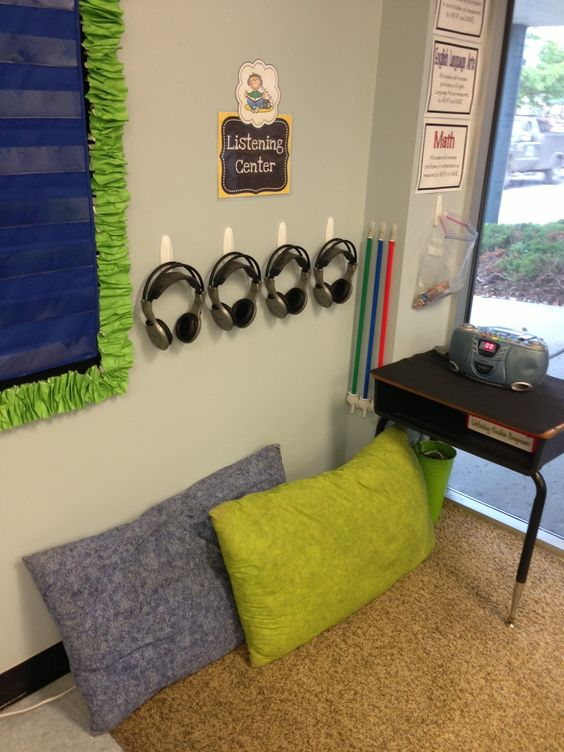 Black and Neon. Listening Center. First Grade Fancy: The BIG Classroom Reveal