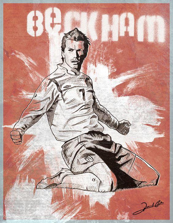 Ilustração do astro inglês David Beckham. Defendeu as cores do Manchester United-ING, Real Madrid-ESP, Milan-ITA e atualmente joga pelo LA Galaxy-EUA.