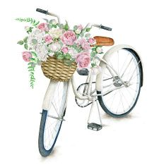 Bicicleta de branco em aquarela com bela flor cesto isolado no fundo branco illustration
